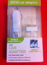 Cable para Iphone 4 / Ipad + Enchufe doble USB